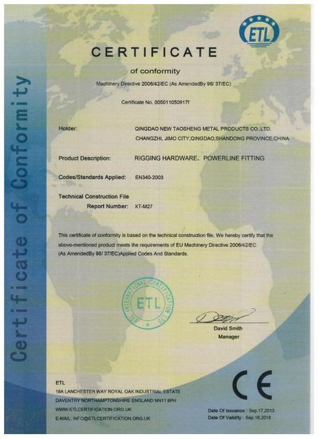 China Qingdao Taosheng Hardware Products Co., Ltd Certificações